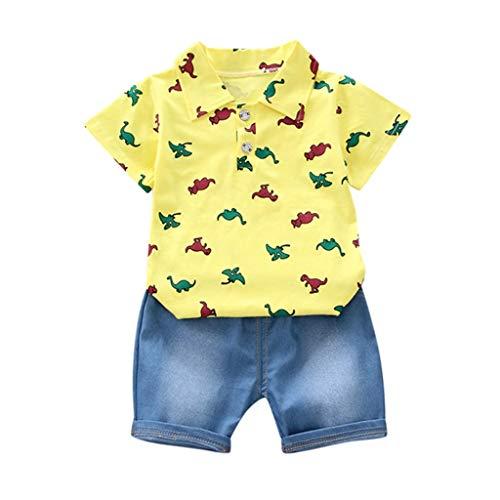 Kleinkind Kostüm Dinosaurier Kleine - LABIUO Jungen Kleidung, Kleinkind Baby Kostüm Cartoon Dinosaurier T-Shirt Oben+Jeans Kurze Hose Bekleidung Set Kinder Zweiteilig(Gelb,6-12M/Klein)