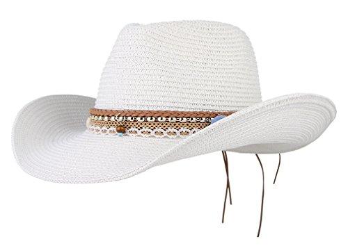 La vogue Unisex Strohhut Outdoor Sonnenhut Cowboyhut Westernhut Sommer Mütze Hutumfang 58cm Weiß
