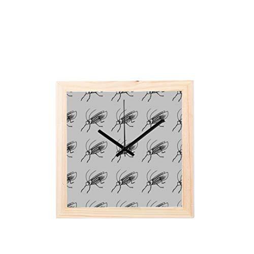Große dekorative Wanduhr Grasshopper Vivid Cartoon Muster Nicht tickt Square Silent Wooden Diamond Display Wanduhren Malerei Dial Küche Schlafzimmer Dekor Dekorieren Wanduhr (Grasshopper Uhr)