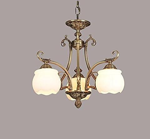 Américain Rural Cuivre Marbre imitation cuivre Lustre pour Salon Chambre, Hôtel Club, Lampes , 3 lumières