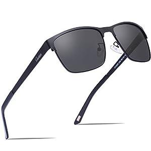 Carfia Gafas de Sol Polarizadas Hombre para Conducción Viaje y Aire Libre-Marco Metal (Marco negro con lente gris)
