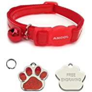 ANCOL Cat Red Reflective Gloss Quick Release Collar With Paw Print Shaped Nickel Cat ID Tag