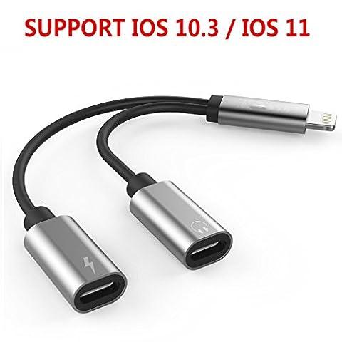 Adapter & Splitter für iPhone 8/8 Plus/7/7Plus , 2 in 1 Lightning Adapter, Doppelte Lightning Kopfhörer & Charge & Call Converter für iPhone 7/7 Plus kompatibel für iOS 1033&iOS11 (Silber)