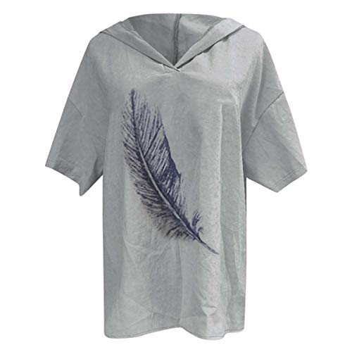 New UK Ladies Women Short Sleeve Loose Shirts Pullover Hooded Blouse Tops Casual Pluse Size Gray M -