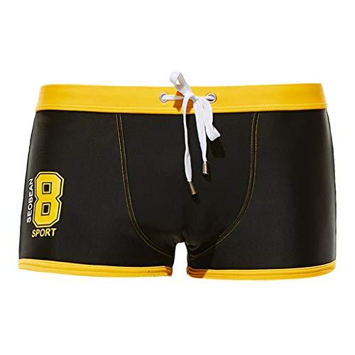 Shorts de Bain Homme Maillot de Bain Boxer Natation Caleçon Sexy Confoartable Bulge Pouch Trunk Shorts de Sport Plage Pas Cher Plus avec Cordon Réglable Élastique Taille S-XL