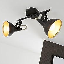 Briloner Leuchten 2049–025, lámpara de techo, lámpara de techo con dos focos giratorios y Baren de giro en Retro/Vintage Diseño, Capacidad: E14Max. 40W, metal, medidas Color, Negro de oro, 30.4x 10x 18.1cm