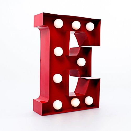 Metallo Lettera Luci - Rosso (Lettera E)