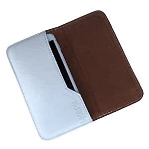 i-KitPit : Genuine Leather Flip Pouch Case Cover For Blackberry Bold 9900 (WHITE)