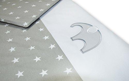 Amilian® Baby Bettwäsche Design: X10(Elefant-Sternchen grau), 80x80 cm + 35x40 cm (2 tlg.)
