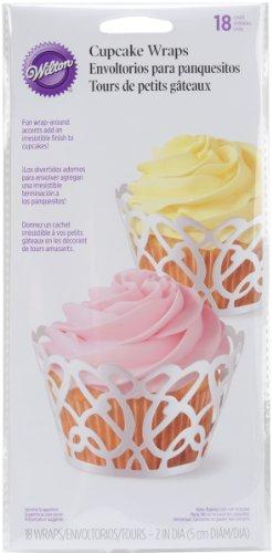 Wilton Cupcake Papier perlweiß Swirls 18er, Kunststoff, Weiß, 24.38 x 11.68 x 3.04 cm, 1 Einheiten