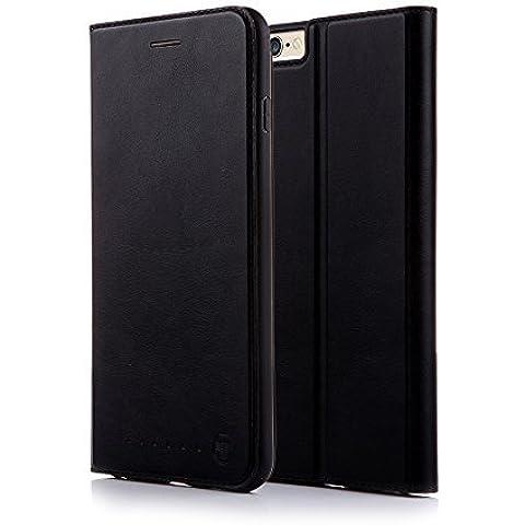 Nouske Funda tipo cartera para iPhone 6 Plus y 6S Plus de 5.5 pulgadas de Apple, negra