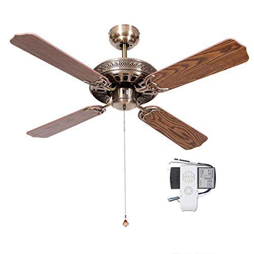 Deckenventilator Retro Lampless European Antique Fan Ohne Licht Einfache Wohnzimmer Esszimmer Schlafzimmer Home (Farbe: Fernbedienung, Größe: 52 Zoll) -