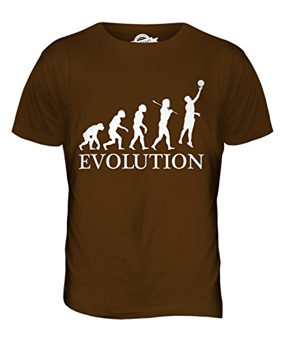 CandyMix Netball Evoluzione Umana T-Shirt da Uomo Maglietta Marrone