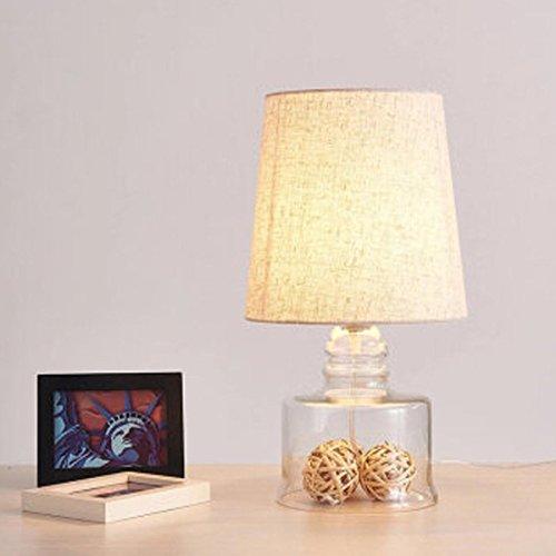 Nordic Einfache Glas Tischlampe mit runden Leinen Lampenschirm Schreibtisch Lampe Nachttisch Lampe Leselampe Bedside Reading Home Office , C