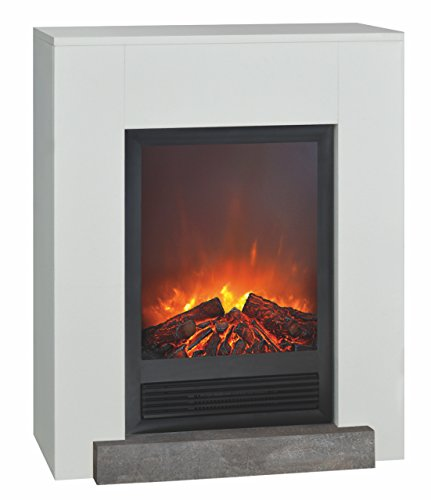 Caminetto elettrico da pavimento completo di cornice hamar e bruciatore elski potenza 0-900-1800w con effetto fiamma e legni decorativi cornice in mdf bianco