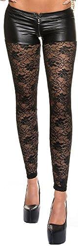 Firstclass Trendstore sexy Leggings mit eleganter Spitze und Zip  Leggins Damen Gogo Clubwear Spitzenleggings