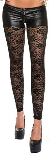 Firstclass Trendstore sexy Leggings mit eleganter Spitze * Leggins Damen Gogo Clubwear Spitzenleggings (900592 schwarz M)