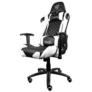 ThunderX3 TGC12BW -Silla gaming profesional-(Estlo Racing, Cuero sintético,Inclinación y Altura regulable, Apoyabrazos, Reposacabezas, Colín lumbar) Color Blanco y Negro