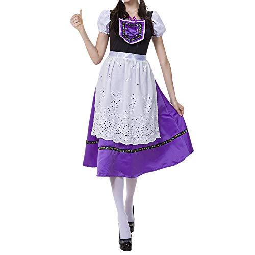 VECDY Damen Kleid, Herbst Frauen Schürze Bayerische Oktoberfest Kostüme Barmaid Dirndl Dress Karneval Mädchen Set Glamorous Dress(Lila,36)