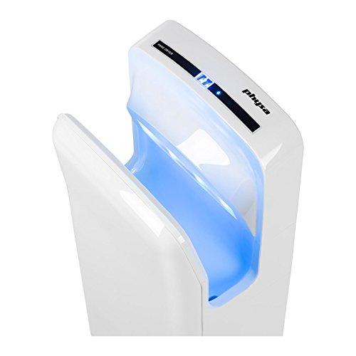Physa ORIA WHITE Händetrockner Airblade (elektrisch, 5-7s, LED-Timer, 1.650W, 230V, Luftgeschwindigkeit: 86 m/s, 28.000 U/min, IPX4, inkl. Montagezubehör) Weiß - 230v Händetrockner