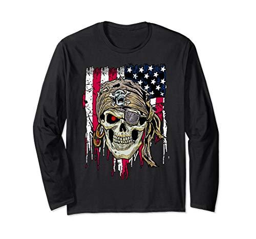 Schädel-amerikanische Flagge USA fantastisch cool Langarmshirt -