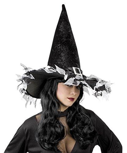 Hexenhut für Damen Erwachsene in schwarz Größe 57 hexen-halloween-kostüm-verkleidung-zubehör-outfit (Kostüme Silent Hill Halloween)