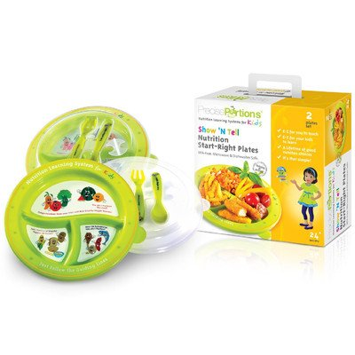 Portion Control Plates for Kids - Set of 2 - Dishwasher Fridge and Microwave Safe Dish for Toddlers - BPA Free - Best for Boys & Girls - in Spanish - with Lid Fork & Spoon –Great for