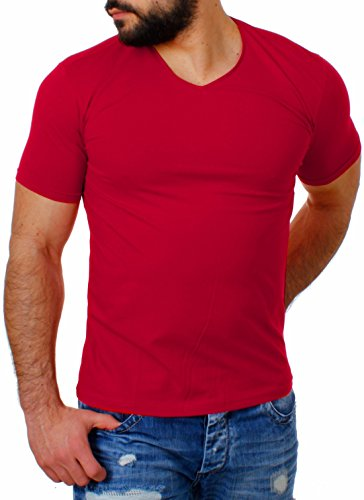 Young & Rich Herren V-Ausschnitt T-Shirt einfarbig slimfit mit Stretchanteilen Uni Basic V-Neck Tee, Grösse:XL;Farbe:Rot (Rot Slim Fit T-shirt)