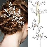 4 Stück Silber Braut Haarnadel Set Hochzeit Blatt Haarnadel und Elegante Damen Perle Strass Haarspange Hochzeit Brautschmuck Haarschmuck für Frauen und Mädchen
