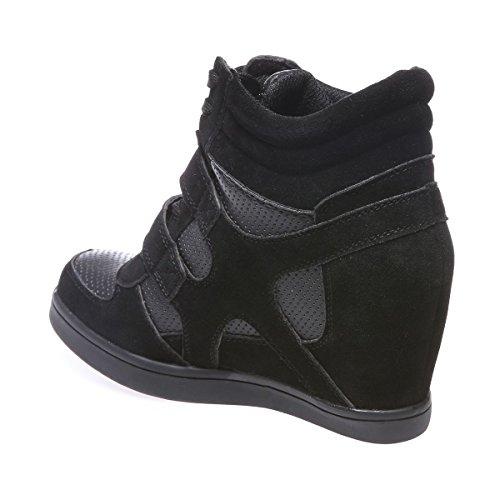 La Modeuse - Baskets femme bi-matière effet cuir ajouré et simili daim Noir