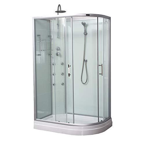 Home Deluxe - Duschkabine - Poseidon rechts - Maße: 120 x 80 x 205 cm - inkl. komplettem Zubehör - verschiedene Ausführungen