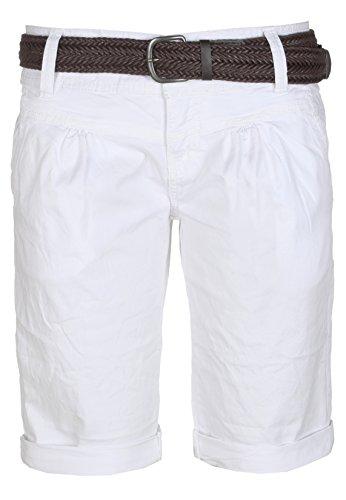 Fresh Made Sommer-Hose Bermuda-Shorts für Frauen | kurze Chino-Hose mit Flecht-Gürtel | Basic Shorts aus Baum-Wolle white M (Damen Hosen Bermuda)