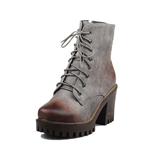 VogueZone009 Damen Rein Hoher Absatz Rund Zehe Weiches Material Reißverschluss Stiefel, Grau, 41
