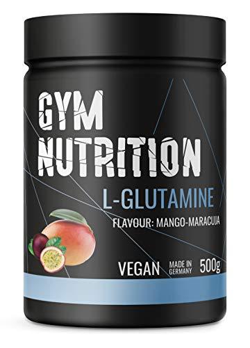 GYM-NUTRITION® - L-GLUTAMIN Ultrapure Pulver - extra hochdosiert & 99,5 {04c2ea64aaed453acbe29aebcf79978ffcd3818df4008ee2c54fec6f82851771} rein - proteinogene Alpha-Aminosäure, vegan - ideal für Body-Builder - Made in Germany - 500-g, Geschmack: MANGO-MARACUJA