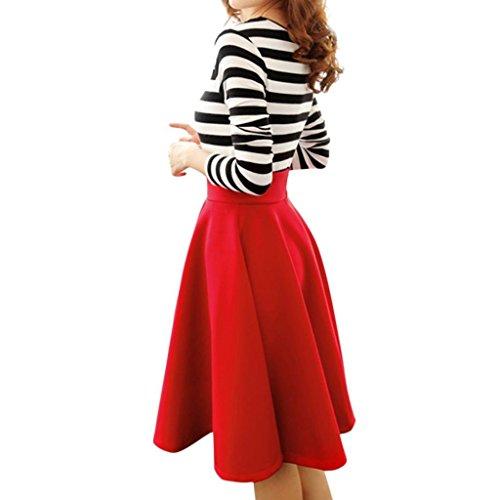 Minetome Mesdames Rétro élégante Jupe Longue Taille Haute Jupe Plissée Genou Sexy Haute Rouge