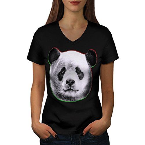 cracked-wood-panda-timber-style-women-new-black-xl-v-neck-t-shirt-wellcoda