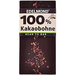 Edelmond 100% geröstete Edel Kakaobohnen. Kein Zusatz von Kakaomasse. Extrem Bitter, da handwerklich gemahlene Kakaobohne. (1 Tafel)