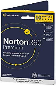 Norton 360 Premium | 10 Users 1 Year | Total Security for PC, Mac, Android or iOS | Physical Delivery | No CD