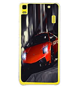 Fuson Premium Orange Racing Car Metal Printed with Hard Plastic Back Case Cover for Lenovo A7000
