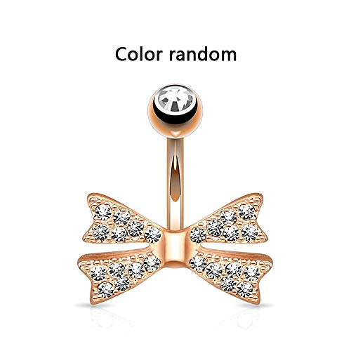 8Eninine Q01224 Full Diamond Shiny Bow Navel Ring Crystal Sexy Belly Button Ring (Sexy Navel Ringe)