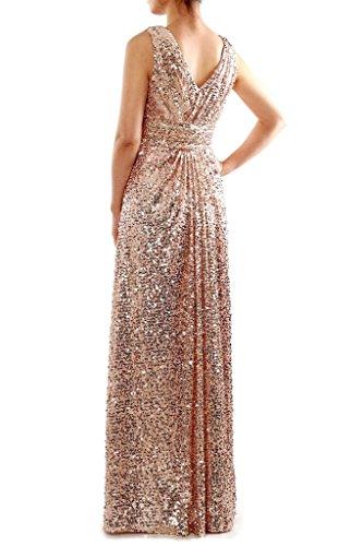 JAEDEN Sexy V-Ausschnitt Brautjungfernkleider Lang Pailletten Ballkleid Festkleid Abendkleid Rosa Gold