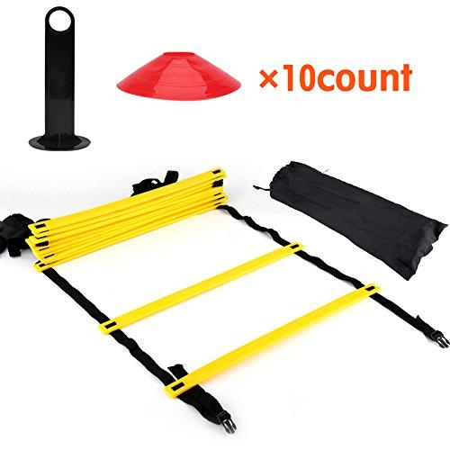 Trainingsleiter und Markierungskegel Set mit Tragetasche 12 Verstellbare flache Sprossen und 10 Kegel(in orange oder gelb) mit Tragegriff für Fußball Training