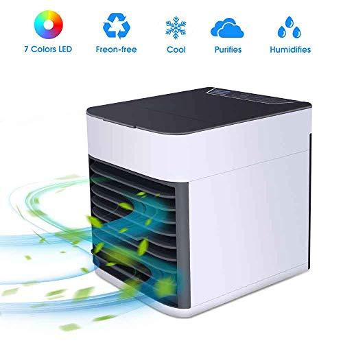 Tragbare Mini-Klimaanlage, persönlicher Lüfter, Luftkühler mit 7 Farben, Nachtlicht und 3-Gang-Lüfter, Wasserkühlung, Luftbefeuchter, Luftreiniger, Verdunstungsluftkühler, Lüfter für Privatanwender -