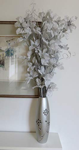 Sconosciuto free 30cm argento inciso, con perline di legno vaso con argento composizione floreale esotico di organico fiori fatti a mano e indiano secchi grasses. circa 88cm di altezza.