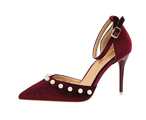 XINJING-S Bowknot High Heels Schuhe Party Hochzeit Frauen Pumps Heels OL Kleidung Schuhe Sandalen Wein