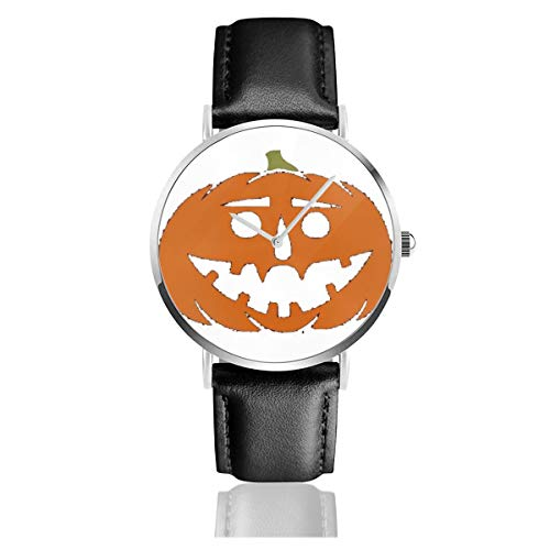 Business Analog Watches, Jack-o-Lantern Classic Stainless Steel Quartz Waterproof Wrist Watch with Leather Strap