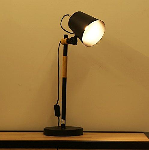 Moderne minimaliste nordique table basse en bois lampe chambre bureau LED lampe de table Japonais lampes de chevet en bois massif lampe de chevet (Couleur : Noir)