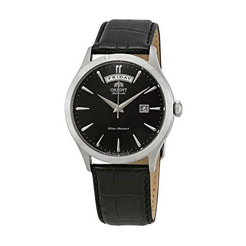 Orient Men's 41mm Black Leather Band Steel Case Automatic Watch FEV0V003BH