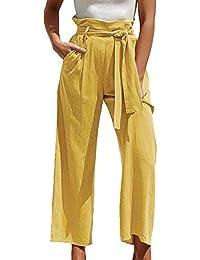 9fda4a03db4 Tomwell Pantalon Large Femme Palazzo Jambes Large Fluide Chic Evasé  Elastiqué Taille Haute Décontracté en Mousseline
