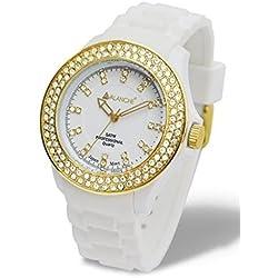 Avalanche Bliss White Gold Diamante Crystal Ladies Girls Womens Wrist Watch
